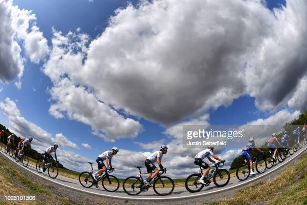Luke Rowe of Great Britain and Team Sky / Geraint Thomas of Great Britain and Team Sky / Vasil Kiryienka of Belarus and Team Sky / Landscape /...