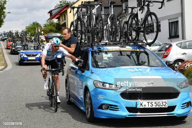Luke Rowe of Great Britain and Team Sky / Mechanical Problem / Mechanic / Car / during the 33rd Deutschland Tour 2018, Stage 2 a 196km stage from...