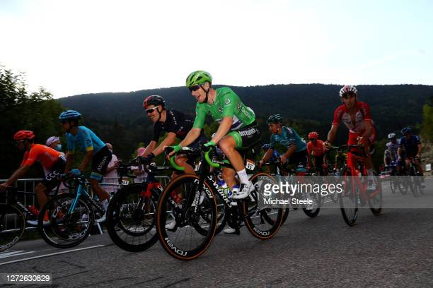 Luke Rowe of The United Kingdom and Team INEOS Grenadiers / Sam Bennett of Ireland and Team Deceuninck QuickStep Green Points Jersey / during the...