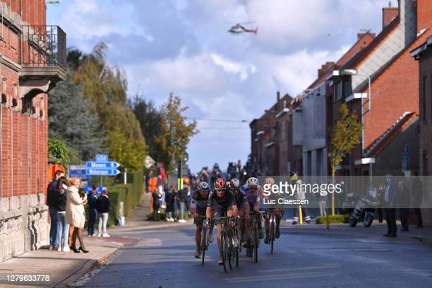 Luke Rowe of The United Kingdom and Team INEOS-Grenadiers / Gianni Vermeersch of Belgium and Team Alpecin-Fenix / Stefan Kung of Switzerland and Team...