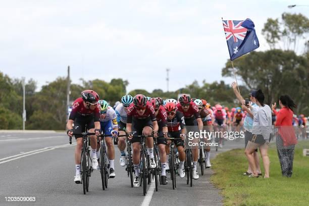 Luke Rowe of The United Kingdon and Team INEOS / Pavel Sivakov of France and Team INEOS / Caleb Ewan of Australia and Team Lotto-Soudal / Ian...