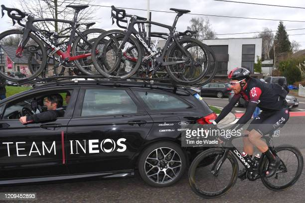 Luke Rowe of United Kingdom and Team INEOS / Car / Detail view / Rain / during the 75th Omloop Het Nieuwsblad 2020 Men Race a 200km race from Ghent...