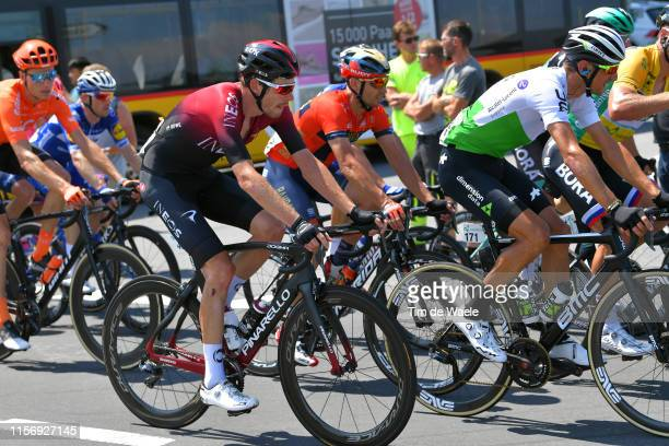 Luke Rowe of United Kingdom and Team INEOS / Valerio Agnoli of Italy and Team Bahrain Merida / Roman Kreuziger of Czech Republic and Team Dimension...
