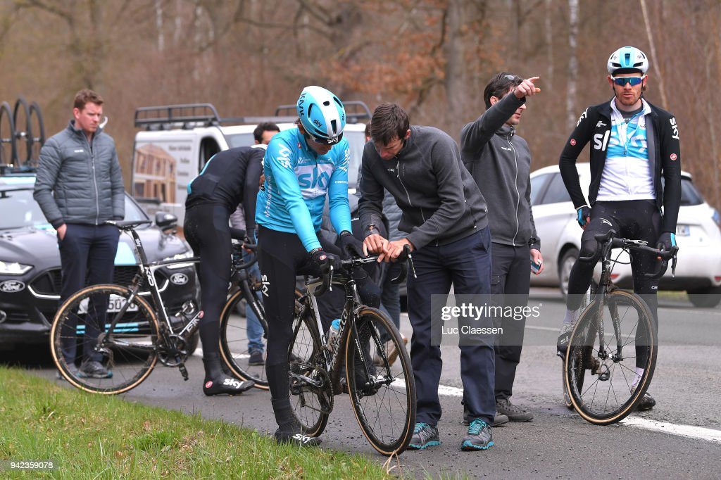 Luke Rowe of United Kingdom and Team Sky / Geraint Thomas of United Kingdom and Team Sky /during training of 116th Paris to Roubaix 2018 on April 5, 2018 in Arenberg, France.