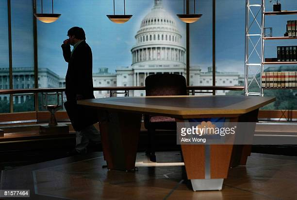 Luke Russert son of the late moderator of 'Meet the Press' Tim Russert mourns his father at the set of the show after a taping June 15 2008 at the...
