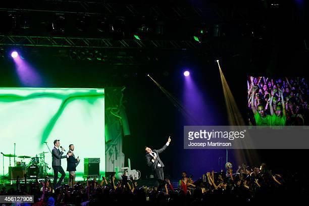 Luke Ryan and Wyatt NixonLloyd during the Nickelodeon Slimefest 2014 evening show at Sydney Olympic Park Sports Centre on September 26 2014 in Sydney...