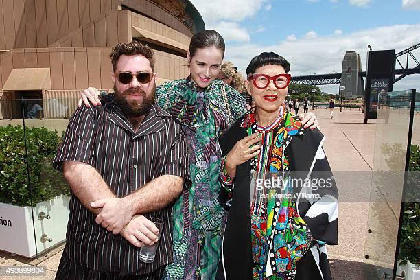 Luke Sales Anna Plunkett and Jenny Kee arrive at the Australian Fashion Laureate Awards at Sydney Opera House on October 23 2015 in Sydney Australia