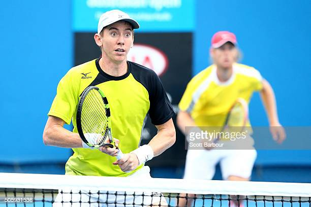 Luke Saville and JohnPatrick Smith of Australia compete in their first round match against Henri Kontinen of Finland and John Peers of Australia...