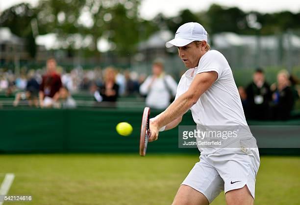 Luke Saville of Australia in action against Aldin Setkic of Bosnia and Herzogova during the 2016 Wimbledon Qualifying Session on June 22 2016 in...