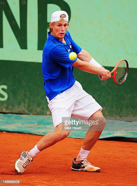Luke Saville of Australia in action in his boy's singles first round match against Maxime Hamou of France during day 8 of the French Open at Roland...