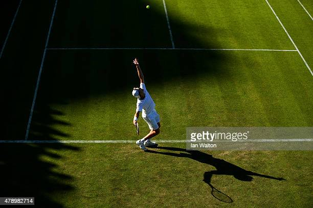 Luke Saville of Australia in action in his Gentlemen's Singles first round match against Richard Gasquet of France plays a forehand during day one of...