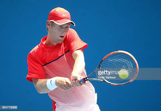 Luke Saville of Australia plays a backhand in his match against Amir Weintraub of Israel during round one of 2016 Australian Open Qualifying at...