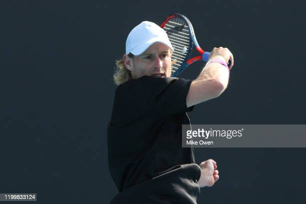 Luke Saville of Australia plays a forehand in his match against Jozef Kovalik of Slovakia during 2020 Australian Open Qualifying at Melbourne Park on...