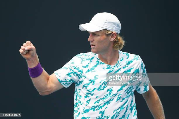 Luke Saville of Australia reacts in his match against Mikael Torpegaard of Denmark during 2020 Australian Open Qualifying at Melbourne Park on...