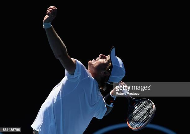 Luke Saville of Australia serves in his 2017 Australian Open Qualifying match against Denis Kudla of USA at Melbourne Park on January 11, 2017 in...