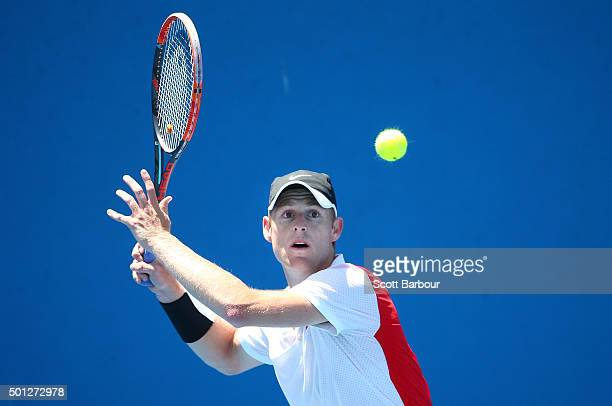 Luke Saville of South Australia plays a forehand during his 2016 Australian Open Men's Singles Play Off match against Jacob Grills of Victoria at...