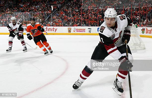 Luke Schenn and Tobias Rieder of the Arizona Coyotes skate against Brayden Schenn of the Philadelphia Flyers on October 27 2016 at the Wells Fargo...