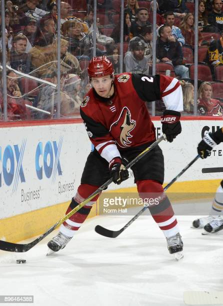 Luke Schenn of the Arizona Coyotes skates with the puck against the Pittsburgh Penguins at Gila River Arena on December 16 2017 in Glendale Arizona