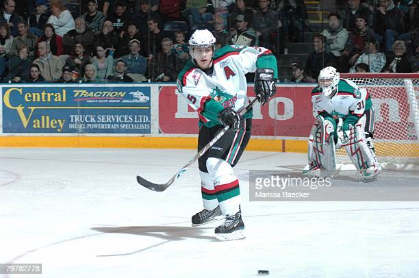 Luke Schenn of the Kelowna Rockets makes a pass against the Everett Silvertips on January 30 at Prospera Place in Kelowna Canada