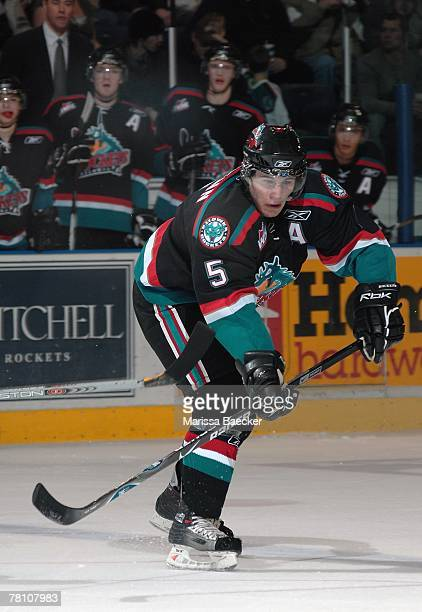 Luke Schenn of the Kelowna Rockets skates against the Prince George Cougars on November 24 2007 at Prospera Place in Kelowna Canada