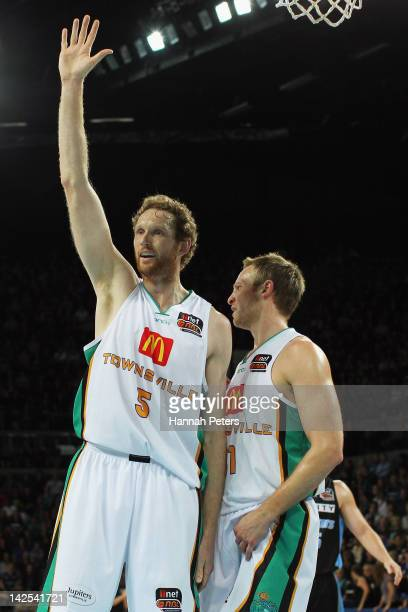 Luke Schenscher of the Crocodiles asks the referee a question during game three of the NBL Finals series between the Townsville Crocodiles and the...