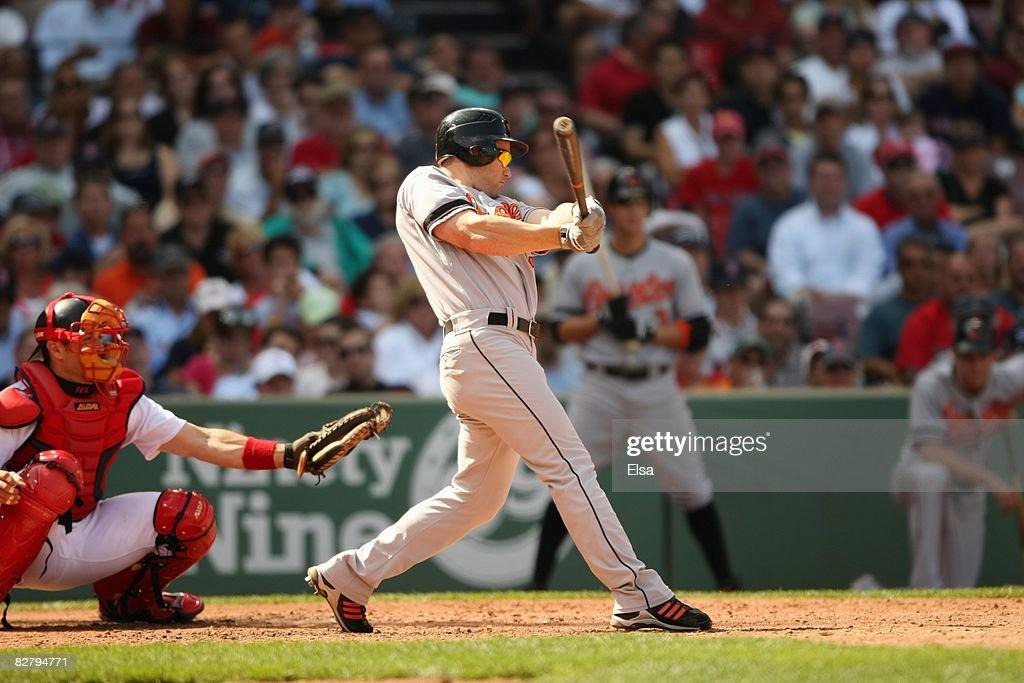 Luke Scott #30 of the Baltimore Orioles at bat against the Boston Red Sox during the MLB game on September 3, 2008 at Fenway Park in Boston, Massachusetts.