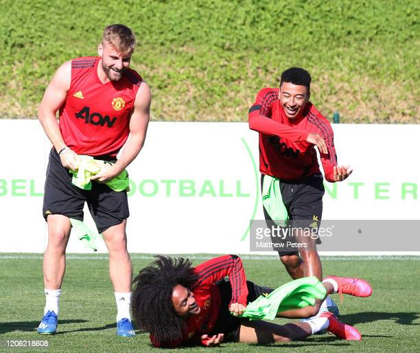 Luke Shaw Jesse Lingard and Tahith Chong of Manchester United in action during a first team training session on February 14 2020 in Malaga Spain