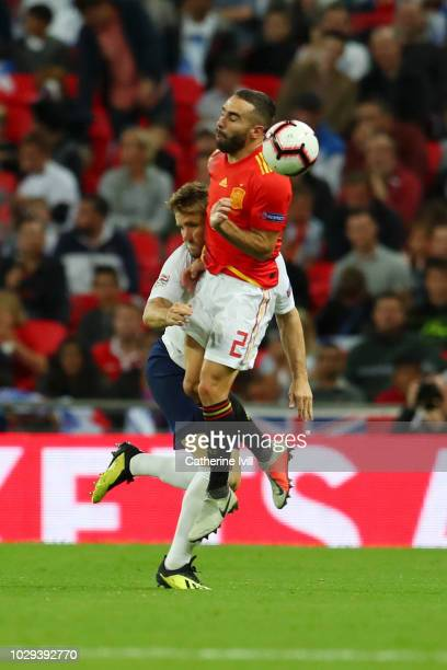Luke Shaw of England and Dani Carvajal of Spain clash leading to Luke Shaw leaving the pitch injured during the UEFA Nations League A group four...