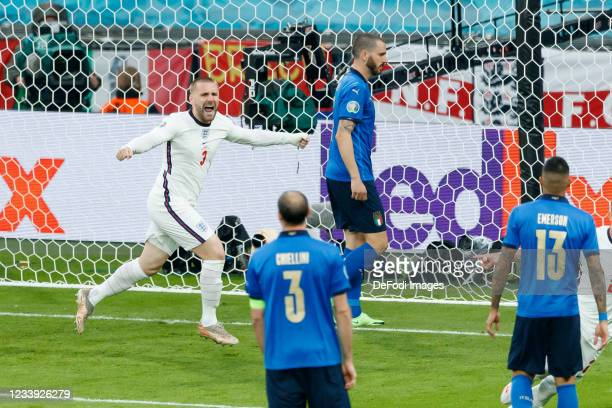 Luke Shaw of England celebrates after scoring his team's first goal during the UEFA Euro 2020 Championship Final between Italy and England at Wembley...
