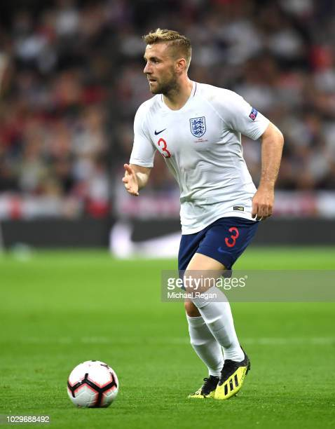 Luke Shaw of England in action during the UEFA Nations League A group four match between England and Spain at Wembley Stadium on September 8, 2018 in...