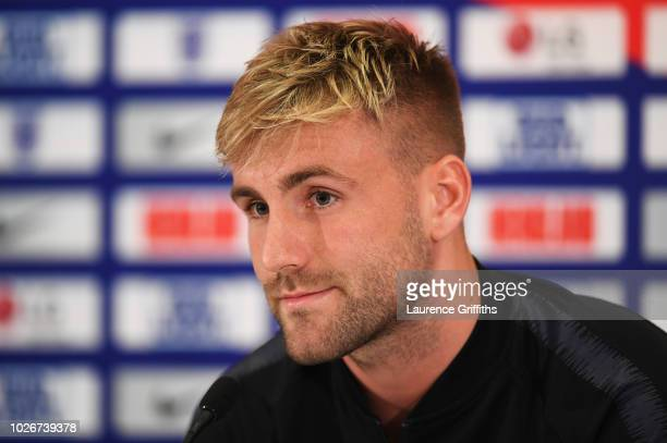 Luke Shaw of England looks on during an England press conference at St Georges Park on September 4 2018 in BurtonuponTrent England