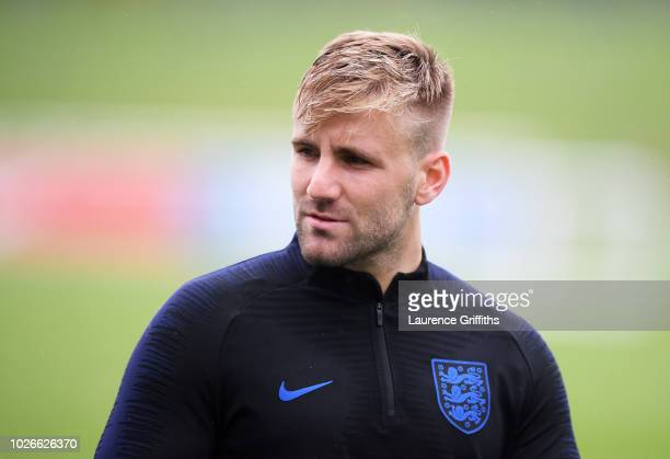 Luke Shaw of England looks on during an England training session at St Georges Park on September 4 2018 in BurtonuponTrent England