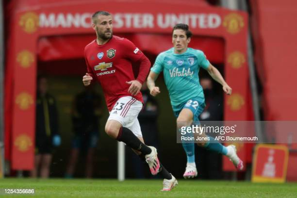 Luke Shaw of Manchester United and Harry Wilson of Bournemouth during the Premier League match between Manchester United and AFC Bournemouth at Old...