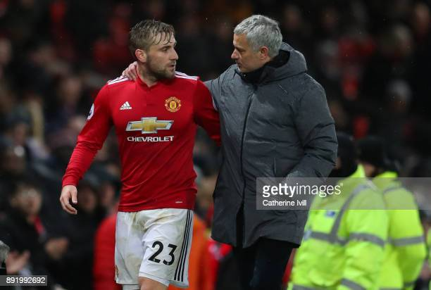 Luke Shaw of Manchester United and Jose Mourinho the head coach / manager of Manchester United during the Premier League match between Manchester...