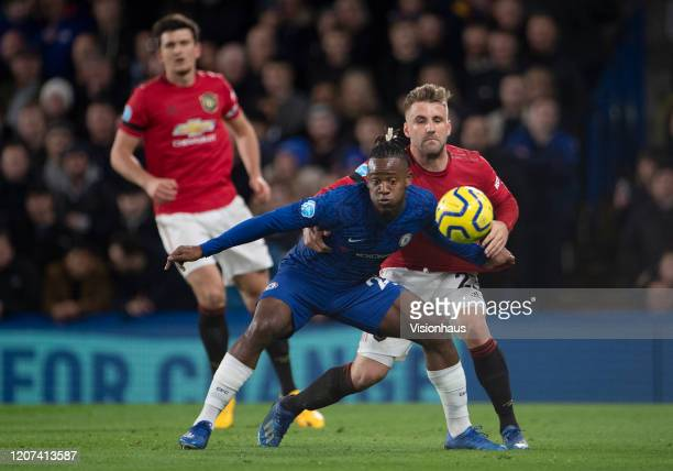 Luke Shaw of Manchester United and Michy Batshuayi of Chelsea during the Premier League match between Chelsea FC and Manchester United at Stamford...