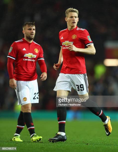Luke Shaw of Manchester United and Scott McTominay of Manchester United in action during the Carabao Cup Third Round match between Manchester United...