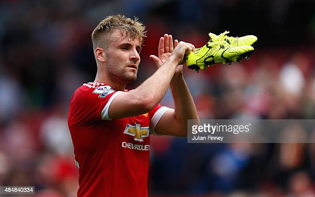Luke Shaw of Manchester United applauds crowds after the 00 draw in the Barclays Premier League match between Manchester United and Newcastle United...