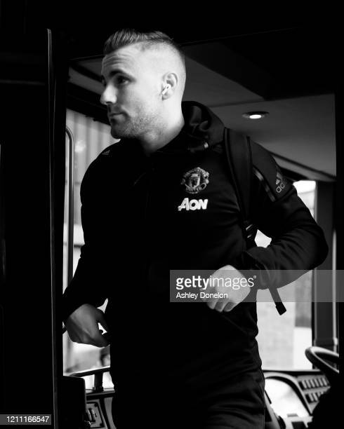 Luke Shaw of Manchester United arrives ahead of the Premier League match between Manchester United and Manchester City at Old Trafford on March 08...