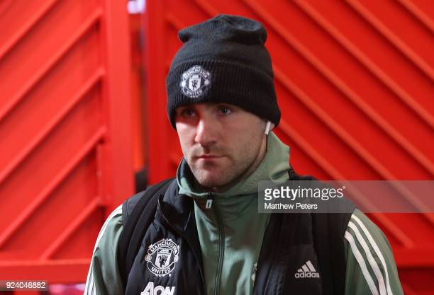 Luke Shaw of Manchester United arrives ahead of the Premier League match between Manchester United and Chelsea at Old Trafford on February 25 2018 in...