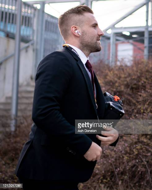 Luke Shaw of Manchester United arrives ahead of the UEFA Europa League round of 16 first leg match between LASK and Manchester United at Linzer...