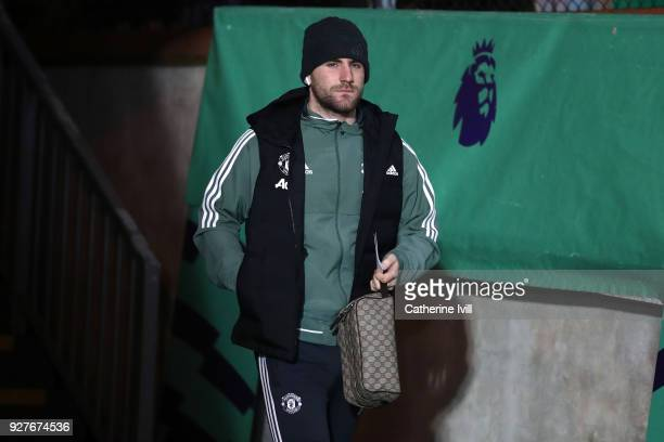 Luke Shaw of Manchester United arrives for the Premier League match between Crystal Palace and Manchester United at Selhurst Park on March 5 2018 in...