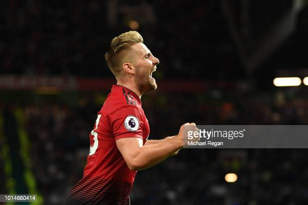 Luke Shaw of Manchester United celebrates after scoring his team's second goal during the Premier League match between Manchester United and...