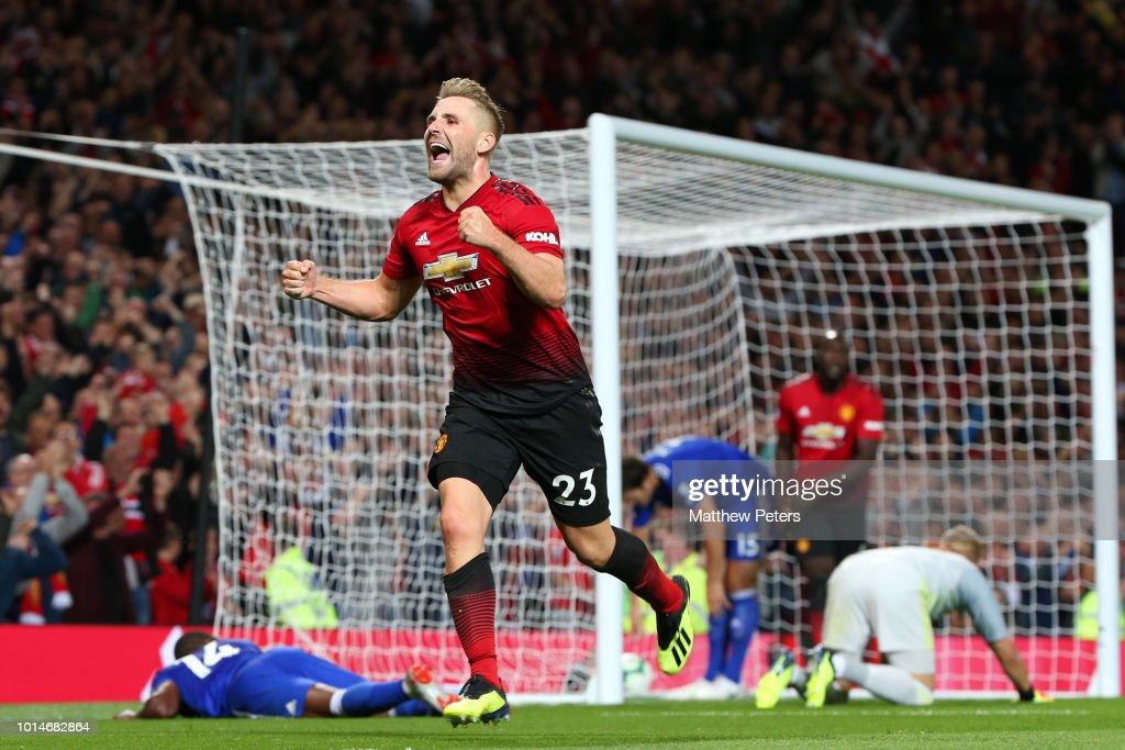 Luke Shaw of Manchester United celebrates scoring a goal to make the score 2-0 during the Premier League match between Manchester United and Leicester City at Old Trafford on August 10, 2018 in Manchester, United Kingdom.