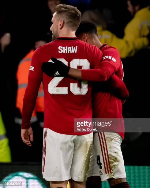 Luke Shaw of Manchester United celebrates scoring their first goal during the FA Cup Fifth Round match between Derby County and Manchester United at...
