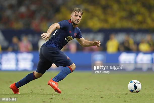 Luke Shaw of Manchester United competes for the ball during the International Champions Cup match between Manchester United and Borussia Dortmund at...