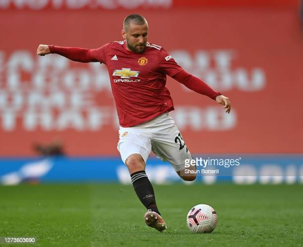 Luke Shaw of Manchester United crosses the ball during the Premier League match between Manchester United and Crystal Palace at Old Trafford on...