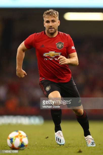 Luke Shaw of Manchester United during the 2019 International Champions Cup match between Manchester United and AC Milan at Principality Stadium on...
