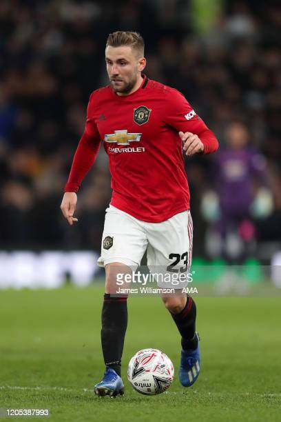 Luke Shaw of Manchester United during the FA Cup Fifth Round match between Derby County and Manchester United at Pride Park on March 5 2020 in Derby...