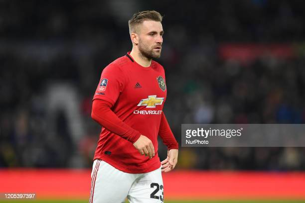 Luke Shaw of Manchester United during the FA Cup match between Derby County and Manchester United at the Pride Park Derby England on 5th March 2020