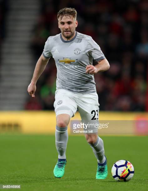 Luke Shaw of Manchester United during the Premier League match between AFC Bournemouth and Manchester United at Vitality Stadium on April 18 2018 in...